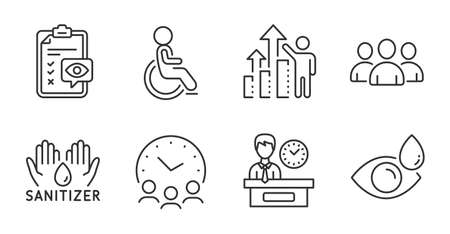 Group, Eye checklist and Hand sanitizer line icons set. Employee results, Disabled and Eye drops signs. Meeting time, Presentation time symbols. Group of users, Optometry, Hygiene care. Vector