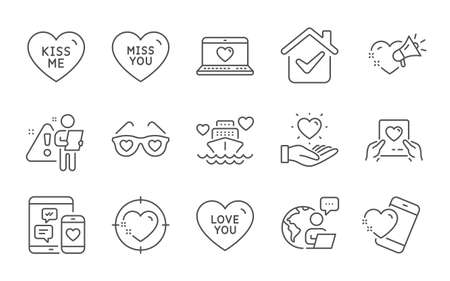 Love mail, Hold heart and Heart line icons set. Love glasses, Social media and Kiss me signs. Miss you, Honeymoon cruise symbols. Valentine letter, Spectacles with hearts. Love set. Vector 向量圖像