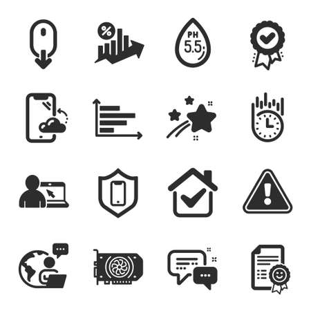 Set of Technology icons, such as Online education, Gpu, Smartphone cloud symbols. Smile, Employees messenger, Ph neutral signs. Smartphone protection, Loan percent, Approved award. Vector Ilustracja