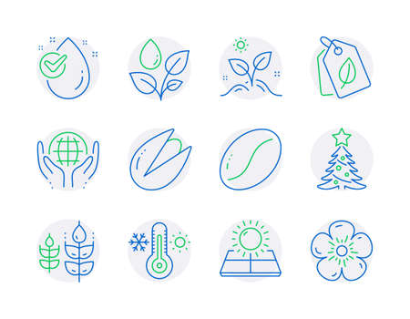 Nature icons set. Included icon as Bio tags, Gluten free, Christmas tree signs. Sun energy, Plants watering, Water drop symbols. Organic tested, Pistachio nut, Grow plant. Thermometer. Vector