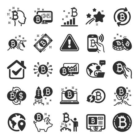 Cryptocurrency icons. Set of Blockchain, Crypto ICO start up and Bitcoin icons. Mining, Cryptocurrency exchange, gold pickaxe. Bitcoin ATM, crypto coins, financial ico markets, blockchain. Vector