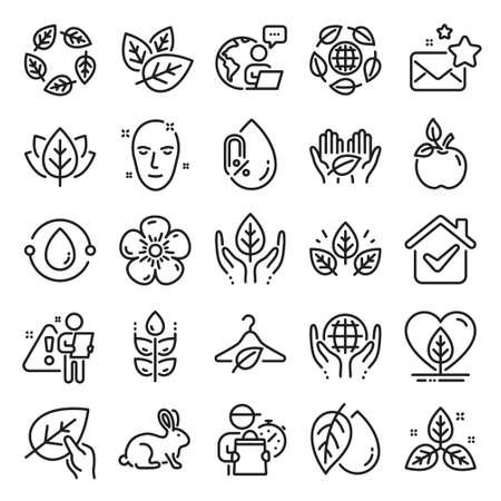 Organic cosmetics line icons. No alcohol free, synthetic fragrance. Slow fashion, sustainable textiles icons. Fair trade, eco organic cosmetics. Gluten free, animal testing. Line icon set. Vector