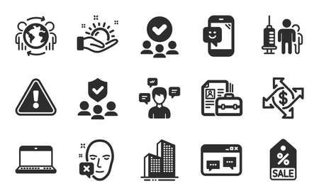 Sale coupon, Notebook and Browser window icons simple set. Sunny weather, People insurance and Conversation messages signs. Payment exchange, Smile and Global business symbols. Flat icons set. Vector