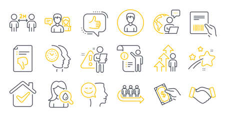 Set of People icons, such as Queue, Handshake, Parcel invoice symbols. Manual doc, Like, People talking signs. Moisturizing cream, Social distancing, Employee result. Good mood, Thumb down. Vector