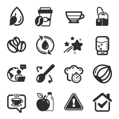 Set of Food and drink icons, such as Hazelnut, Coffee, Refill water symbols. Coffee-berry beans, Takeaway coffee, Americano signs. Apple, Cooking timer, Cooking spoon. Tea bag flat icons. Vector