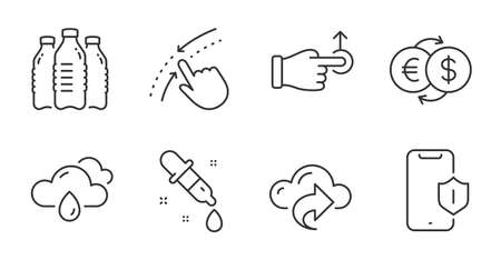 Water bottles, Drag drop and Smartphone protection line icons set. Rainy weather, Cloud share and Money exchange signs. Swipe up, Chemistry pipette symbols. Aqua drinks, Move, Phone. Vector