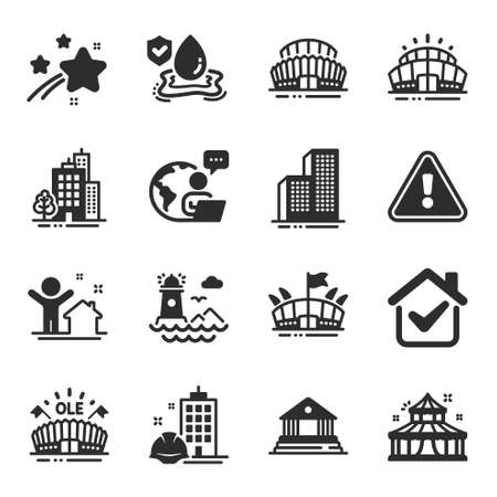Set of Buildings icons, such as Construction building, Buildings, Circus symbols. Sports stadium, Sports arena, Lighthouse signs. New house, Arena stadium, Court building. Flood insurance. Vector Ilustracja