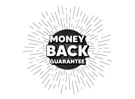 Money back guarantee. Vintage star burst banner. Promo offer sign. Advertising promotion symbol. Hipster sun with rays. Retro vintage starburst element. Sunburst rays bubble. Vector
