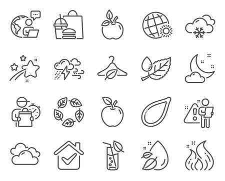 Nature icons set. Included icon as Slow fashion, Snow weather, Cloudy weather signs. Eco food, Fire energy, Apple symbols. Leaf dew, Water drop, Pumpkin seed. Organic tested, Water glass. Vector