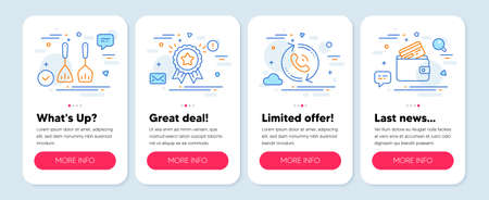 Set of Business icons, such as Call center, Cooking cutlery, Loyalty award symbols. Mobile screen mockup banners. Debit card line icons. Recall, Kitchen accessories, Bonus medal. Vector