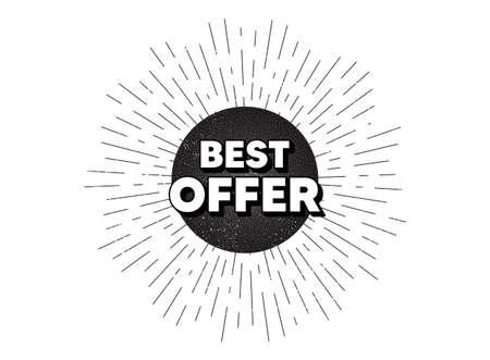Best offer. Vintage star burst banner. Special price Sale sign. Advertising Discounts symbol. Hipster sun with rays. Retro vintage starburst element. Sunburst rays bubble. Best offer banner. Vector