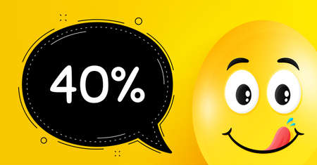40% off Sale. Easter egg with yummy smile face. Discount offer price sign. Special offer symbol. Easter smile character. Discount speech bubble. Yellow yummy egg background. Vector Ilustração