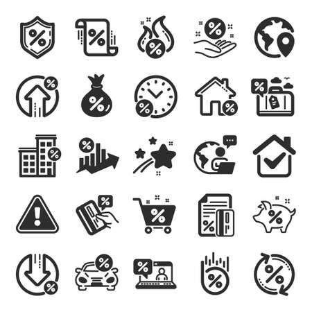 Loan icons. Set of Investment, Interest rate and Percentage diagram icons. Car leasing, analytics plan, Credit card percent and loan rate. Bank mortgage, leasing, interest graph. Flat icon set. Vector