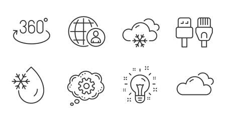 Snow weather, Full rotation and Cloudy weather line icons set. Cogwheel, International recruitment and Computer cables signs. Freezing water, Idea symbols. Snowflake, 360 degree, Sky climate. Vector 矢量图像