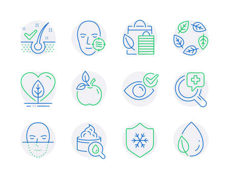 Healthcare icons set. Included icon as Problem skin, Check eye, Bio shopping signs. Anti-dandruff flakes, Medical analyzes, Organic tested symbols. Moisturizing cream, Face recognition. Vector