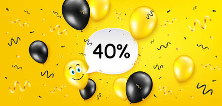 40% off Sale. Balloon confetti vector background. Discount offer price sign. Special offer symbol. Birthday balloon background. Discount message. Celebrate yellow banner. Vector