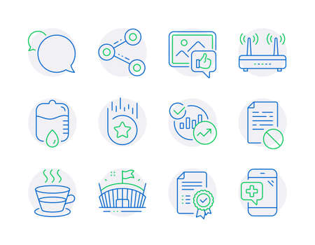 Business icons set. Included icon as Drop counter, Coffee cup, Wrong file signs. Like photo, Arena, Loyalty star symbols. Messenger, Wifi, Statistics. Share, Certificate, Medical phone. Vector