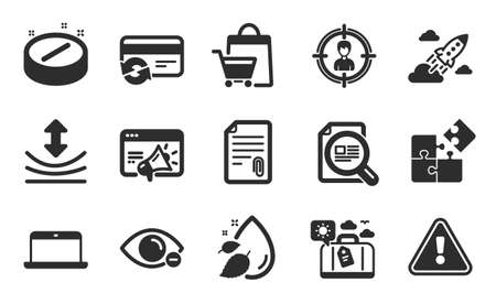 Puzzle, Myopia and Travel luggage icons simple set. Resilience, Attachment and Laptop signs. Change card, Check article and Seo marketing symbols. Water drop, Headhunting and Medical tablet. Vector Illustration