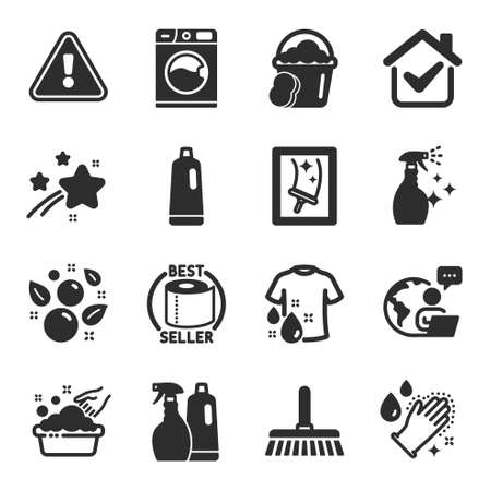 Set of Cleaning icons, such as Shampoo, Window cleaning, Cleaning mop symbols. Washing machine, Toilet paper, Clean bubbles signs. Shampoo and spray, Hand washing, Sponge. Wash t-shirt. Vector