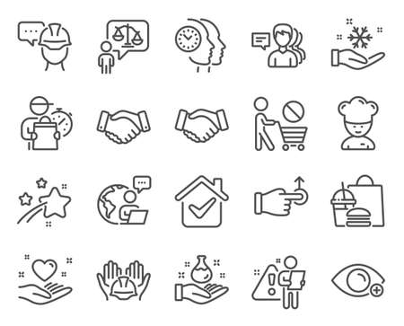 People icons set. Included icon as Stop shopping, Foreman, Freezing signs. Time management, Cooking chef, People symbols. Employees handshake, Farsightedness, Lawyer. Handshake, Drag drop. Vector