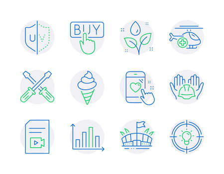 Business icons set. Included icon as Heart rating, Medical helicopter, Diagram graph signs. Buying, Screwdriverl, Ice cream symbols. Uv protection, Video file, Plants watering. Arena, Idea. Vector