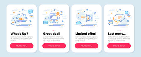 Set of Business icons, such as Payment methods, Ole chant, Bus parking symbols. Mobile screen app banners. Text message line icons. Credit card, Sport championship, Public park. Chat bubble. Vector