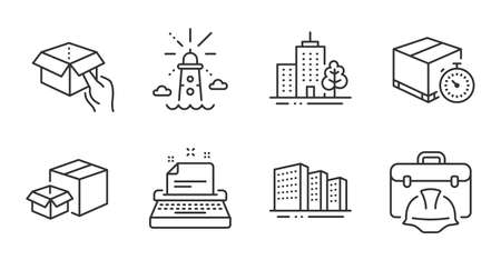 Delivery timer, Hold box and Lighthouse line icons set. Typewriter, Skyscraper buildings and Construction toolbox signs. Buildings, Packing boxes symbols. Quality line icons. Vector Ilustracja