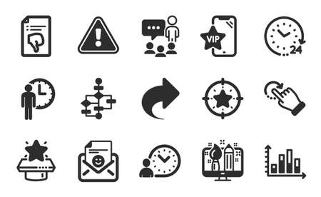 Rotation gesture, Winner podium and Block diagram icons simple set. Diagram graph, 24 hours and Share signs. Time management, Star target and Smile symbols. Flat icons set. Vector