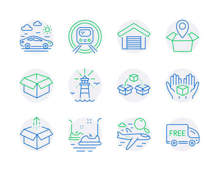Transportation icons set. Included icon as Car travel, Hold box, Lighthouse signs. Opened box, Parcel shipping, Search flight symbols. Parking garage, Package location, Bumper cars. Vector