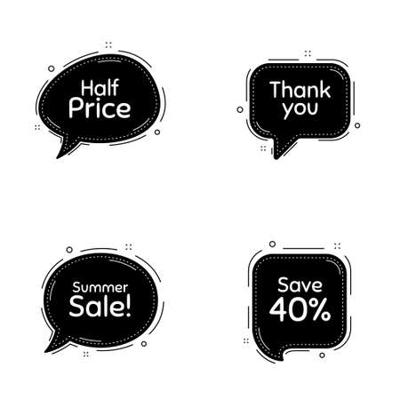 Summer sale, 40% discount and half price phrases. Speech bubbles vector set. Sale shopping text. Thought speech balloon website element. Discount chat think bubbles. Thank you cloud message. Vector Ilustração