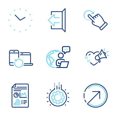 Business icons set. Included icon as Report document, Direction, Rotation gesture signs. Gear, Time, Love message symbols. Sign out, Recovery devices line icons. Line icons set. Vector