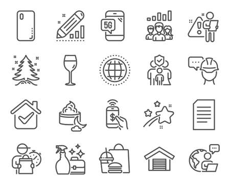 Business icons set. Included icon as Teamwork results, Family insurance, Globe signs. Smartphone cover, Document, Parking garage symbols. Wine glass, Edit statistics, Phone payment. Vector Ilustracja