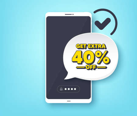 Get Extra 40% off Sale. Mobile phone with alert notification message. Discount offer price sign. Special offer symbol. Save 40 percentages. Customer service app banner. Vector