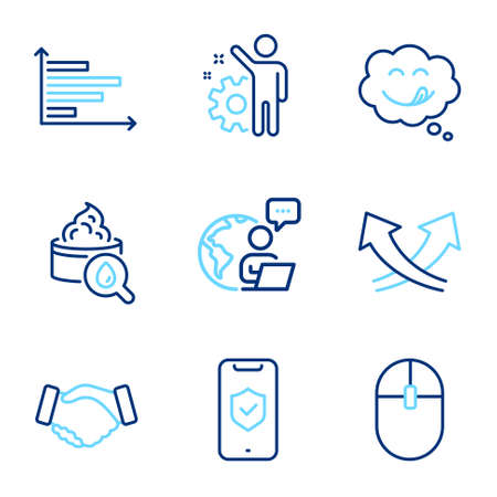 Business icons set. Included icon as Handshake, Yummy smile, Employee signs. Phone protection, Horizontal chart, Computer mouse symbols. Moisturizing cream, Intersection arrows line icons. Vector 向量圖像