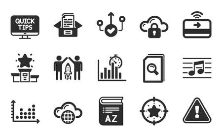 Partnership, Correct way and Search files icons simple set. Cloud protection, Musical note and Web tutorials signs. Star target, Winner podium and Cloud computing symbols. Flat icons set. Vector