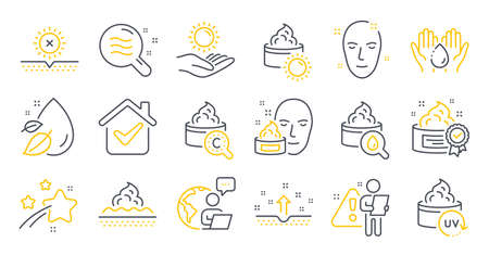 Set of Beauty icons, such as Skin condition, Skin care, No sun symbols. Uv protection, Cream, Face cream signs. Sun protection, Wash hands, Water drop line icons. Line icons set. Vector 向量圖像