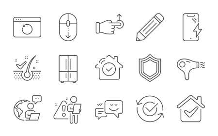 Security, Scroll down and Recovery internet line icons set. Pencil, Hair dryer and Refrigerator signs. Smartphone charging, Happy emotion and Anti-dandruff flakes symbols. Line icons set. Vector