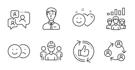 Businessman person, Support chat and Engineering team line icons set. Smile, Refresh like and Teamwork signs. Teamwork results, Like symbols. Male user, Comment bubble, Architect person. Vector