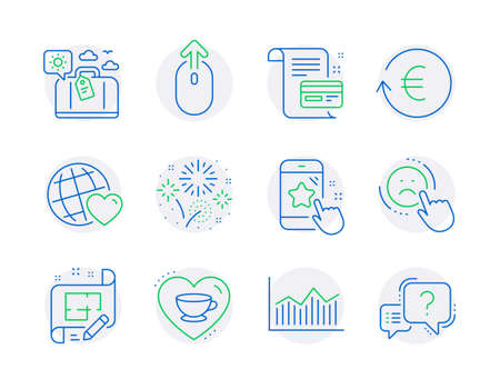 Business icons set. Included icon as Travel luggage, Fireworks, Money diagram signs. Star rating, Swipe up, Love coffee symbols. Architect plan, Exchange currency, Friends world. Dislike. Vector