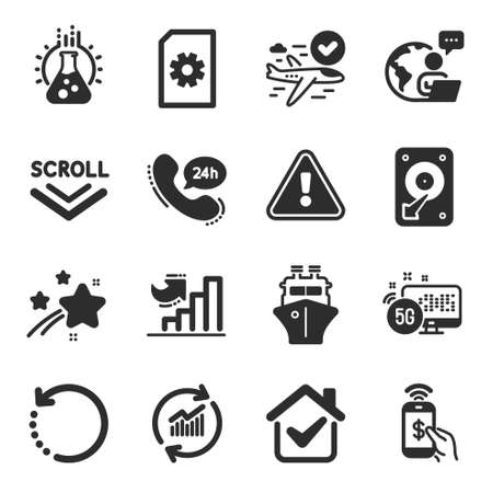 Set of Business icons, such as Update data, Hdd, Scroll down symbols. Phone payment, Ship, Growth chart signs. File management, Recovery data, 5g internet. Chemistry lab, 24h service. Vector