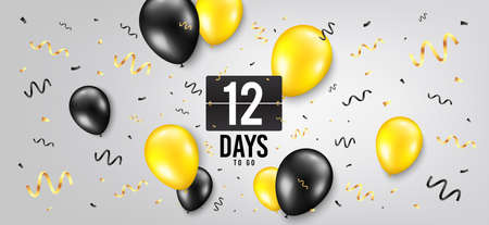 Twelve days left icon. Countdown scoreboard timer. Balloon confetti background. 12 days to go sign. Days to go birthday balloon. Celebrate countdown banner. Counter background. Vector