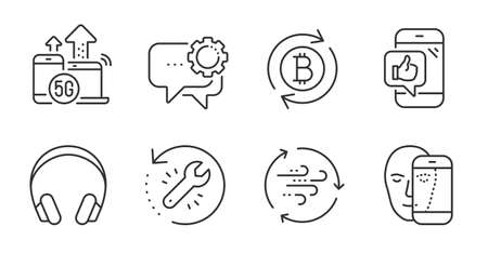 Employees messenger, Wind energy and 5g internet line icons set. Face biometrics, Mobile like and Refresh bitcoin signs. Headphones, Recovery tool symbols. Quality line icons. Vector