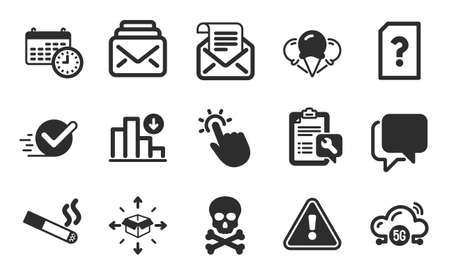 Talk bubble, Unknown file and Smoking icons simple set. Spanner, Parcel delivery and Chemical hazard signs. Decreasing graph, Calendar and Checkbox symbols. 5g cloud, Mail and Ice creams. Vector