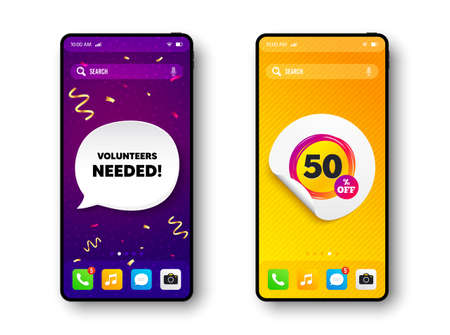 Sale 50 percent off banner. Phone mockup vector confetti banner. Discount sticker shape. Coupon star icon. Social story post template. Volunteers needed speech buuble. Cell phone frame banner. Vector  イラスト・ベクター素材