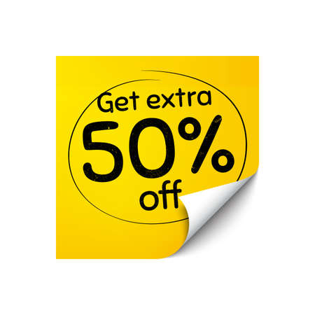 Get Extra 50% off Sale. Sticker note with offer message. Discount offer price sign. Special offer symbol. Save 50 percentages. Yellow sticker banner. Extra discount badge shape. Post note. Vector