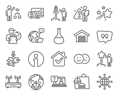 Technology icons set. Included icon as Info, Wifi, Magistrates court signs. International globe, Faq, Algorithm symbols. Like, Block diagram, Quote bubble. Bitcoin chart, Star line icons. Vector 矢量图像