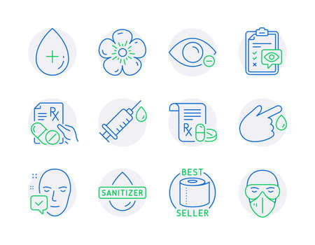 Healthcare icons set. Included icon as Medical prescription, Hand sanitizer, Face accepted signs. Medical syringe, Natural linen, Eye checklist symbols. Prescription drugs, Oil serum. Vector