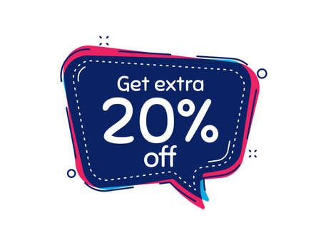 Get Extra 20% off Sale. Thought bubble vector banner. Discount offer price sign. Special offer symbol. Save 20 percentages. Dialogue or thought speech balloon shape. Vector Ilustração