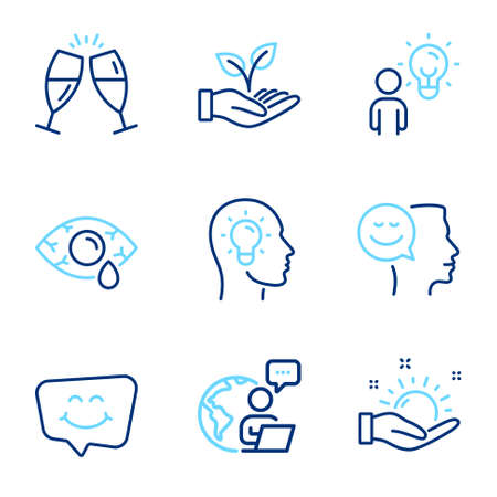 People icons set. Included icon as Helping hand, Idea head, Good mood signs. Group people, Smile chat, Sunny weather symbols. Ð¡onjunctivitis eye, Champagne glasses line icons. Line icons set. Vector