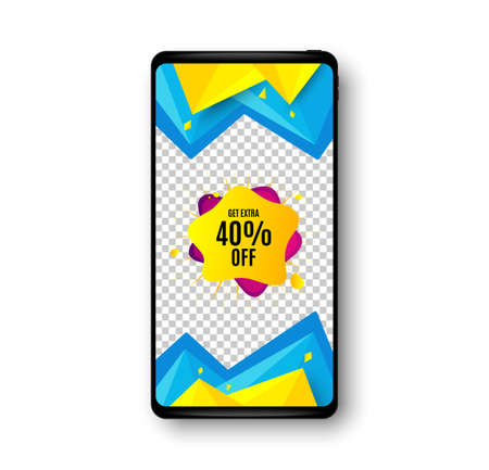 40% sale liquid shape sticker. Phone mockup vector banner. Discount banner. Sale coupon icon. Social story post template. Sale shape badge. Cell phone frame. Abstract modern background. Vector